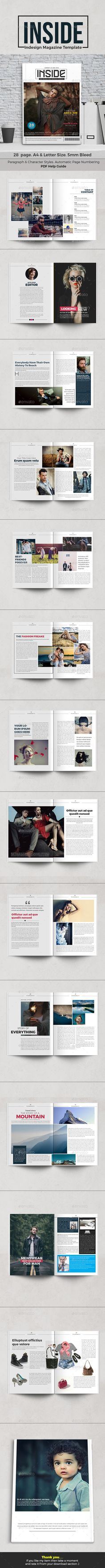 Inside - #Magazine Template - Magazines Print Templates Download here: https://graphicriver.net/item/inside-magazine-template/17762052?ref=classicdesignp