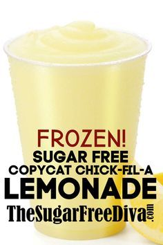 Sugar Free Copycat Chick-fil-A Frozen Lemonade sugarfree copycat lemonade diy homemade beverage drink yummy recipe 62768988543560361 Sugar Free Drinks, Sugar Free Desserts, Sugar Free Recipes, Ww Recipes, Low Carb Desserts, Diabetic Recipes, Diabetic Drinks, Copycat Recipes, Recipies