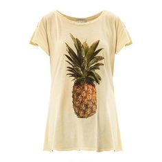 WILDFOX Pineapple-print T-shirt ($68) ❤ liked on Polyvore featuring tops, t-shirts, shirts, blusas, yellow, short sleeve tees, yellow t shirt, pattern t shirts, print t shirts and pineapple print shirt