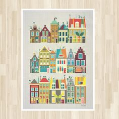 Art Retro - 'Baby Went to Amsterdam' Poster : HOLLAND Townhouses Illustration  8 X 10 Cute Colourful. $15.00, via Etsy.