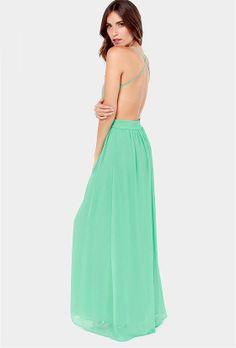 Vestido largo plisado espalda abierta correa de espagueti-verde EUR€29.07