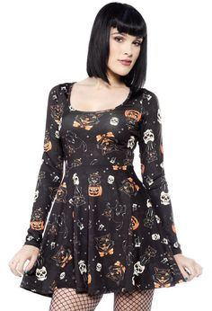 Sourpuss Dress Skater Black Cats Black Halloween 50s Rockabilly Goth S - 3XL in Clothing, Shoes, Accessories, Women's Clothing, Dresses | eBay