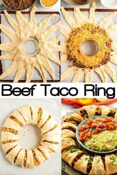 Beef Taco Ring - Looking for an easy appetizer! This Beef Taco Ring made with Crescent Rolls is all that and more. Great appetizer for a crowd for your next party or game day! Made from refrigerated crescent rolls, ground beef and cheese Appetizers For A Crowd, Meat Appetizers, Appetizer Recipes, Recipes Dinner, Sandwich Recipes, Crescent Roll Taco Ring, Cresent Rolls, Croissant, Mexican Food Recipes