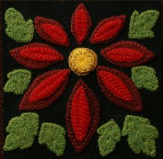 """Wool applique BOM PATTERN &/or KIT """"Poinsettia"""" block 1 of 24 """"Four Seasons of Flowers"""" winter wool quilt table bed runner wall hanging Applique Quilt Patterns, Felt Applique, Applique Designs, Pdf Patterns, Block Patterns, Kit, Hexagon Quilt Pattern, Wool Quilts, Wool Fabric"""