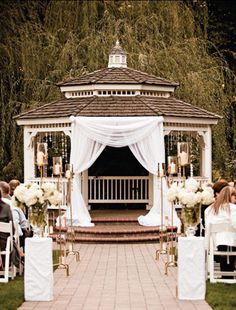 This is a pretty way to decorate a gazebo. Greater Portland Wedding Venues - Abernethy Center - Gazebo in Abigail's Garden Wedding Ceremony Ideas, Gazebo Wedding Decorations, Gazebo Ideas, Backyard Gazebo, Aisle Decorations, Wedding Ceremonies, Outdoor Ceremony, Outdoor Wedding Gazebo, Wedding Entrance