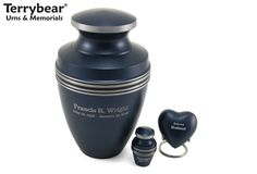 Blue Grecian Cremation Urn Ensemble