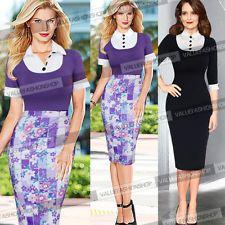 Para Mujer Elegante Colores Vivos Cuello Floral desgaste de trabajo empresariales Lápiz Vestido 535