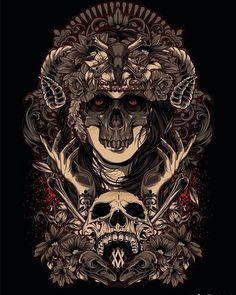 "noichitat: ""by Vicky Agus Kurniawan "" Skull Artwork, Metal Artwork, Scratchboard Art, Arte Obscura, Dark Art Drawings, Skeleton Art, Illustration Vector, Spiderman Art, Arte Horror"