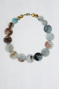 Circle stone necklace light blue natural by StarsonMarsJewelryCo