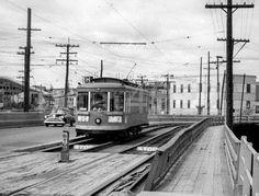 Streetcar crossing the Chaudiere Bridge - 1950's
