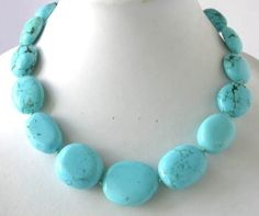 18 big blue turquoise beads necklace $29.99