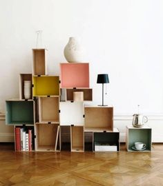 Bookcases and Shelves, Wall Shelving Unit Designs made of Stacked Wooden Tables and Boxes