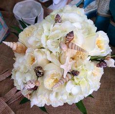 Hydrangea, garden roses,sea shells