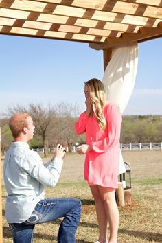 He asked her to marry him under the pergola he built, and there are so many happy tears.