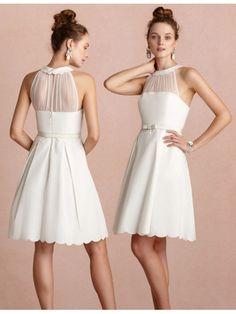 Elegant A-line Halfter Satin Short Brautkleid WHS0056