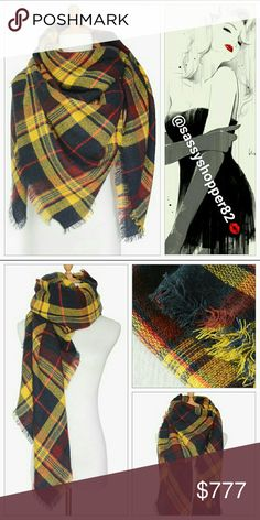 Fall into fall with this oversized scarf NWOT Brand new without tags    Fall into fall with this fabulous fall colored scarf! A must have for your winter wardrobe!! Yellow is on trend for the season!! Accessories Scarves & Wraps