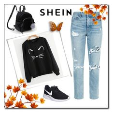 """Cartoon Cat Print Sweatshirt"" by nermina-okanovic ❤ liked on Polyvore featuring GRLFRND and NIKE"