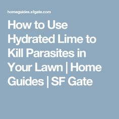 How to Use Hydrated Lime to Kill Parasites in Your Lawn | Home Guides | SF Gate