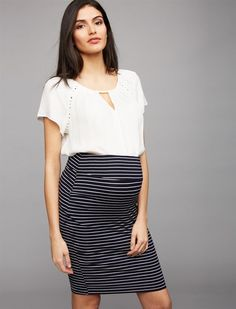 Ripe Mia Maternity Pencil Skirt, Navy Stripe