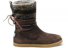 TOMS Brown Wool Stripe Nepal Boots