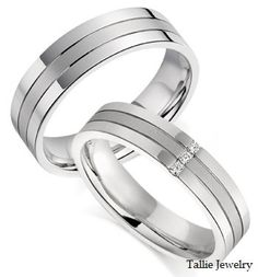 His & Hers Mens Womens Matching 14K White Gold Wedding Bands w/ Diamonds 5mm/6mm Wide Free Engraving New