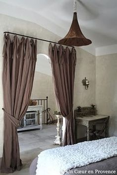 Use any kind of Curtains or Drapes you like for separating Rooms. Room Divider Curtain, Room, Home, Separating Rooms, Room Remodeling, Curtains, Home Deco, Home Buying, Bedroom