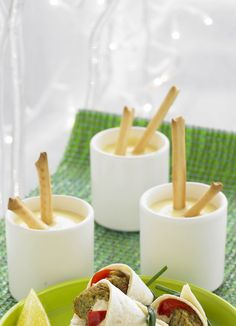 Mini cheese fondue with dippers - Everyone likes fondue. This is a quick and easy way to make it into a fun canapé. Emmenthal and gruyère are traditional to use, but other cheeses will work too