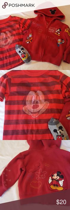 Mickey Disney Parks 3t boys lot. Super cute Disney Parks hoodie, Disney t-shirt and socks. The Mickey shirt has an intentional vintage faded look. I have more socks, when I find them I'll toss them in with this lot.  Offers welcome, bundle to save. I have lots of 3t posted and more to upload. Disney Shirts & Tops Sweatshirts & Hoodies