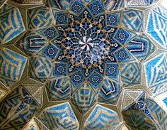 Tile works at Jame mosque, Kerman, Iran.  Masjed-e Jame or Muzaffari, built in 14th century CE, it is famous for its magnificent portal, its mihrab and mosaic-tile decorations, and its historic inscription, which bears the date 1349 CE.  Via: socalflora