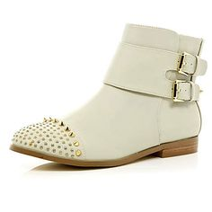 Cream stud toe buckle ankle boots - ankle boots - shoes / boots - women