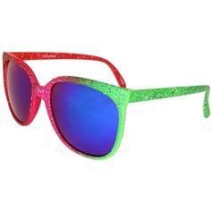 Retro Wayfarer Style Iridescent Neon Sunglasses, Mirrored Lenses In Multi GirlPROPS. $6.99