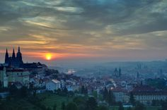 The Prague City At Sunrise by Radovan Cisar on Prague City, Prague Castle, Beautiful Places In The World, Czech Republic, Budapest, Places To See, Sunrise, To Go, Explore