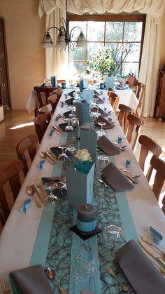 Meine Tischdeko zur Konfirmation ... Türkis-Grau