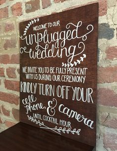 Unplugged Wedding Ceremony Sign Stained Wood by gratefulheartshop Unplugged Wedding Sign, Wedding Ceremony Signs, Wood Wedding Signs, Wedding Signage, Wedding 2017, Fall Wedding, Rustic Wedding, Our Wedding, Dream Wedding