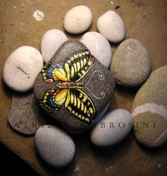"Handpainted Butterfly No.5  rock painting by thestoneteller, $26.00,  It measures approximately: horizontal diagonal 5,67"" ; vertical diagonal 2,36""; thickness 0,35"" ( 14,4 x 6 x 0,9 cm)"