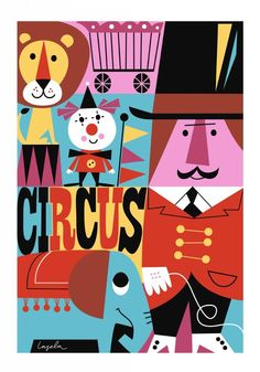 Lovely Poster Cirkus by Ingela P. Circus Poster, Circus Art, Circus Theme, Circus Room, Vintage Circus, Clowns, Graphic Illustration, Illustrations Posters, Art For Kids