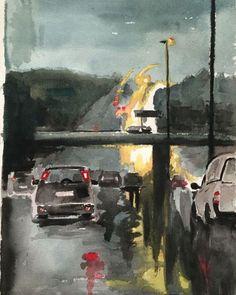 Traffic in the rain N3 to Pretoria. #painting #paintings #watercolor #cars #traffic #rain