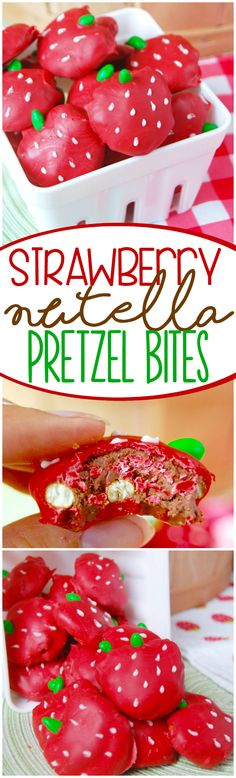 These cute little Strawberry Nutella Pretzel Bites look sweet and are packed with a fun surprise!: