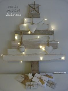 rustic recycled christmas tree - with so much waste in the world, especially at christmas, we enjoyed making this year's tree with scraps of wood and driftwood. Recycled Christmas Tree, Unusual Christmas Trees, Diy Paper Christmas Tree, Driftwood Christmas Tree, Pallet Christmas Tree, Alternative Christmas Tree, Christmas Tree Design, Outdoor Christmas, Christmas Projects