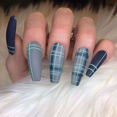 blue-green nails checkered- # Matte nails blue-green-checkered-nails – blue-green-checkered nails blue green checkered nails – # Blue green plaid nails Best Picture For make up green For Your … Fall Nail Art Designs, Cute Acrylic Nail Designs, Best Acrylic Nails, Plaid Nail Designs, Green Nail Designs, Plaid Nail Art, Plaid Nails, Sweater Nails, Nail Swag