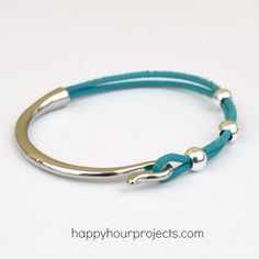 Easy Curved Clasp Leather Bracelet at www.happyhourprojects.com - Featuring products from GoodyBeads.com!