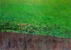 Ca0178 Óleo tela 70x50x2 cm  Campo verde tras la valla