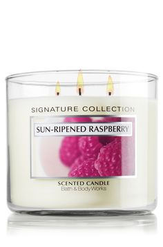 Sun Ripened Raspberry 14.5 oz. 3-Wick Candle - Classics - Bath  Body Works - In this positively irresistible fragrance, the scent of summer-ripened berries blends delectably with a hint of green vine.