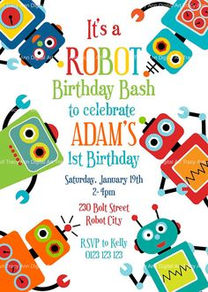 Fun Robot Birthday Invitation Printable by TracyAnnPrintables