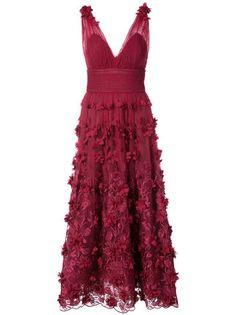 30a7a98576 Marchesa Notte Embroidered floral-appliquéd Dress - Farfetch. Red Floral  DressRed Ruffle DressLace DressRufflesMarchesa GownsPlunging V Neck ...