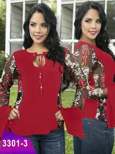 Blusa Moda Colombiana Thaxx - Ref. 119 -3301-3 Rojo Hoco Dresses, Abaya Fashion, Girl Model, Refashion, Blouse Designs, Summer Outfits, Plus Size, Chic, Agaves