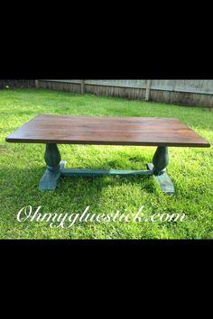 Farm style turquoise coffee table.     #Turquoise  Ohmygluestick.com  Facebook: Oh My Gluestick