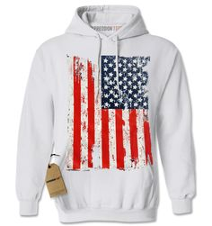 Distressed American USA Flag Adult Hoodie Sweatshirt
