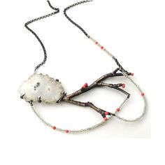 Anna Johnson, Untitled necklace :: solar quartz, vintage coral, sterling silver, cast ancient bronze. *Sold © COPYRIGHT 2015. ALL RIGHTS RESERVED.