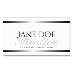 Realtor Silver Metallic Script Business Card Template